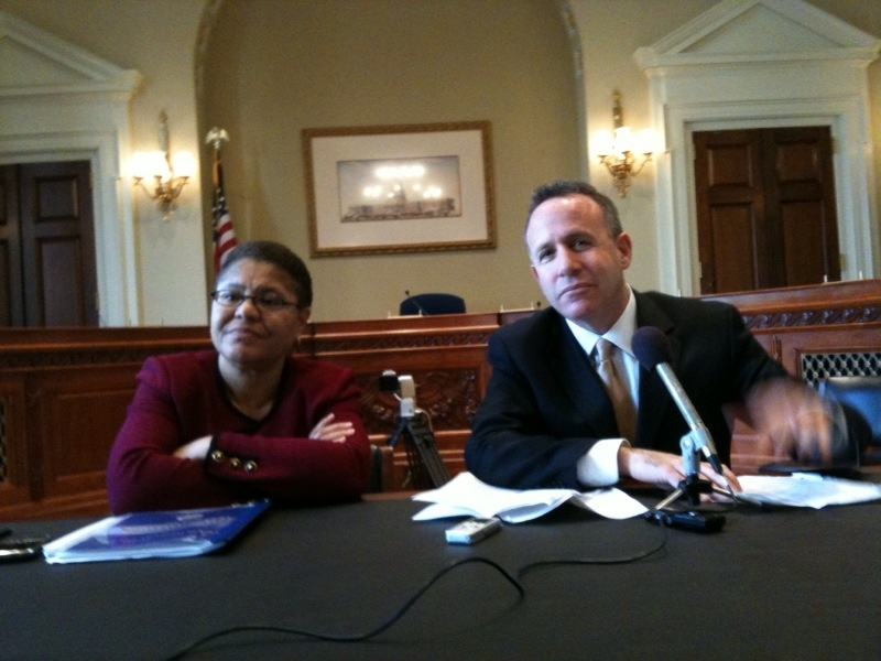 California Senate President pro tem Darrell Steinberg (seen here in a file photo with former Assembly Speaker Karen Bass) pushed a bill that bans detachable ammunition magazines.