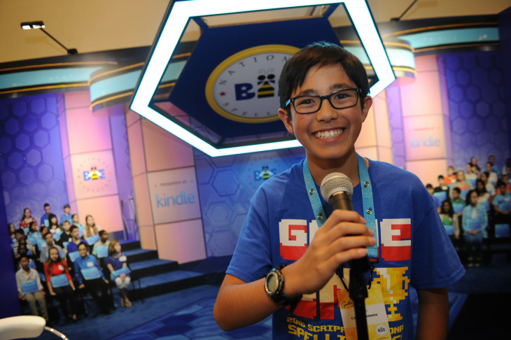 Cooper Komatsu, 13, from Culver City Middle School in Culver City, was one of two Southern California students to advance Wednesday to the final rounds of the Scripps National Spelling Bee.