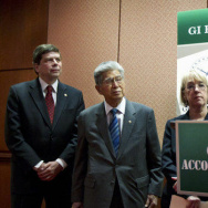 Iraq war veteran Paul Rieckhoff (right), with Democratic Sens. Mark Begich of Alaska, Daniel Akaka of Hawaii and Patty Murray of Washington, introduces the GI benefit watchdog bill in Washington. Some lawmakers say for-profit schools are taking advantage of veterans and their educational benefits.