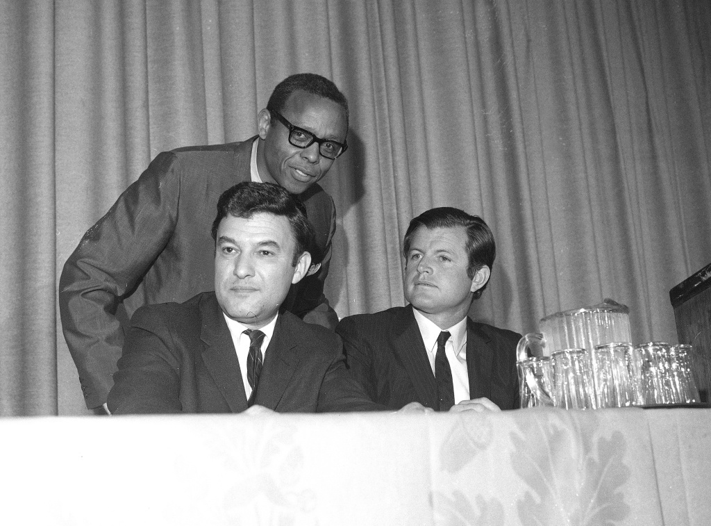 Jack Greenberg, on the left, seated next to Sen. Ted Kennedy and the Rev. Dr. M. Moran Weston in 1969.