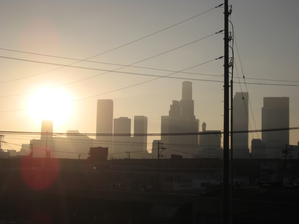 File: Shot of the Downtown Los Angeles skyline during sunset.