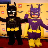 "Action Figures and Statues of ""The Lego Batman Movie"" on display for the New York Screening at AMC Loews Lincoln Square 13 on February 9, 2017 in New York City."