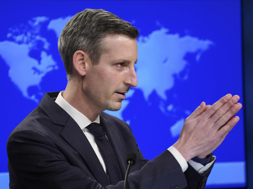 State Dept. Spokesman Ned Price, seen on Monday, says the Biden administration is willing to talk with Iranian and European officials about the nuclear deal.