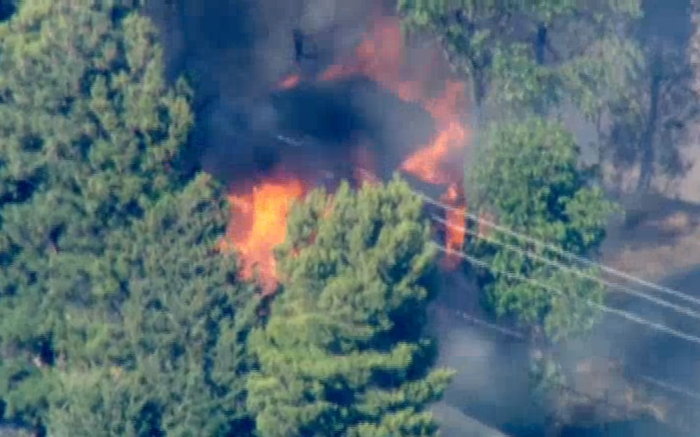 Screen shot from NBC LA's live coverage of a brush fire in Angeles National Forest on May 30, 2013.
