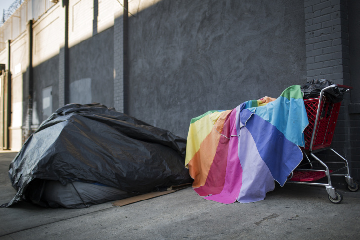 A tent stands on E Sixth Street at Gladys Avenue in Skid Row on Thursday morning, Dec. 17, 2015.