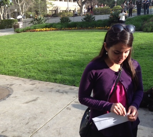 Moment of truth: On Match Day, Veronica Ramirez, a fourth-year medical student at USC's Keck Medical School, opens the envelope that contains the note that will tell her where she'll spend her residency.