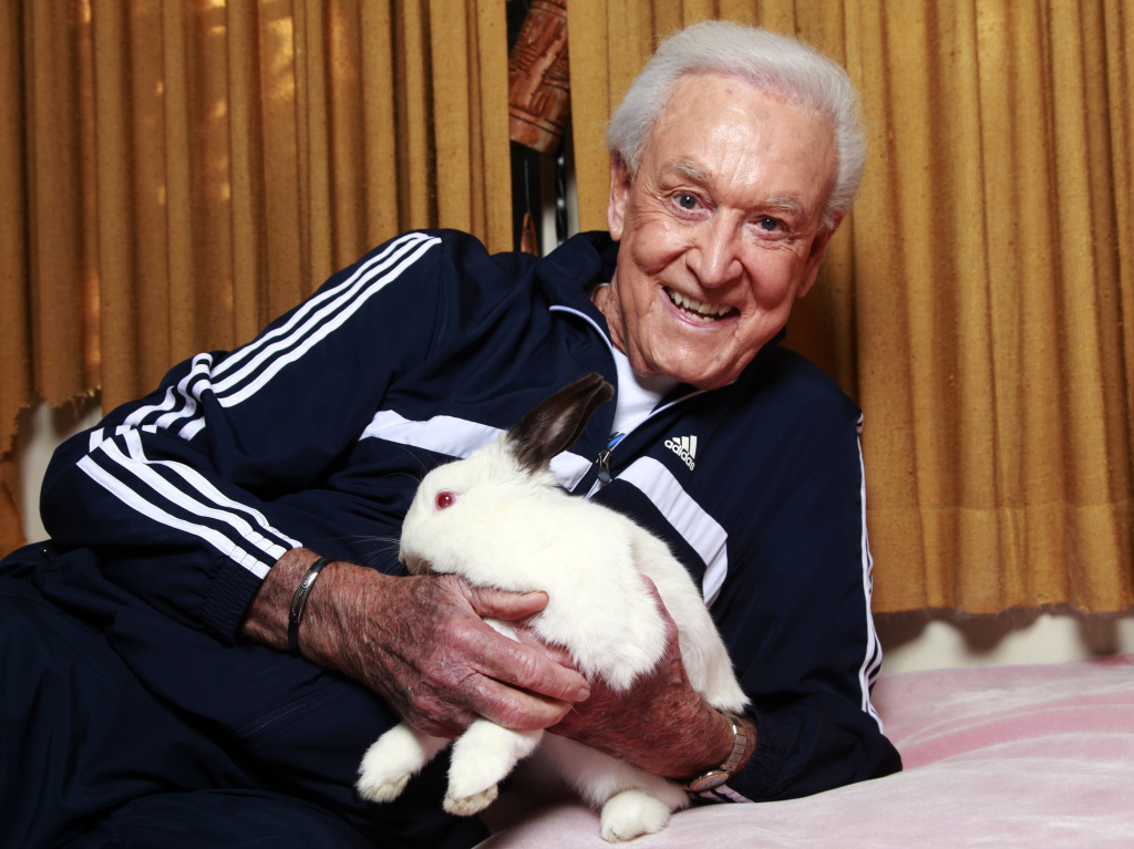 Dec. 13, 2011: Retired game show host Bob Barker holds his  8-year-old rabbit Mr. Rabbit at his home in Los Angeles. (AP Photo/Damian Dovarganes)