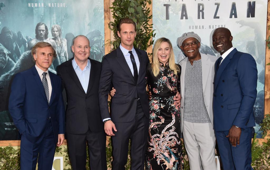 Actor Christoph director David Yates, actors Alexander Skarsgard, Margot Robbie, Samuel L. Jackson and Djimon Hounsou attend the premiere of Warner Bros. Pictures'