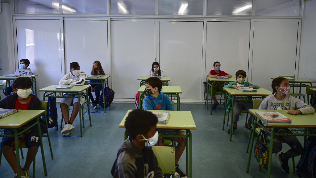 Students attend the first day of school in the small town of Labastida, Spain, on Sept. 8. A recent study found no link between coronavirus spikes and school reopenings in the country.