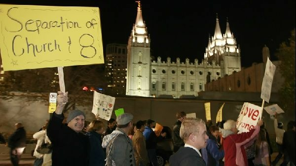 Thousands protest against Prop 8 outside the Utah headquarters of the Church of Latter-Day Saints in 2008.
