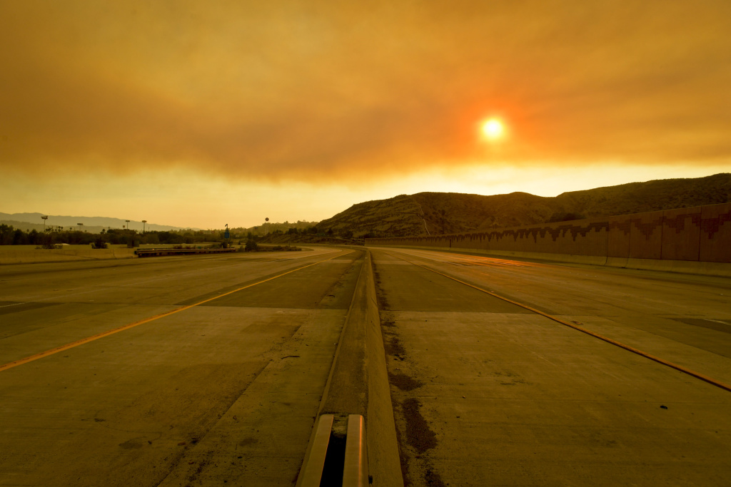 The 14 Freeway in the Antelope Valley was closed to vehicles Sunday afternoon as the Sand Fire burned near the freeway. 
