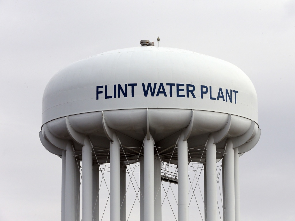 The Flint Water Plant tower in Flint, Mich., where drinking water became tainted after the city switched from the Detroit system and began drawing from the Flint River in April 2014 to save money.