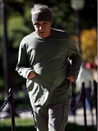 An unidentified man exercises October 22, 2010 in Washington DC. The baby boom generation turned 65 on January 1.