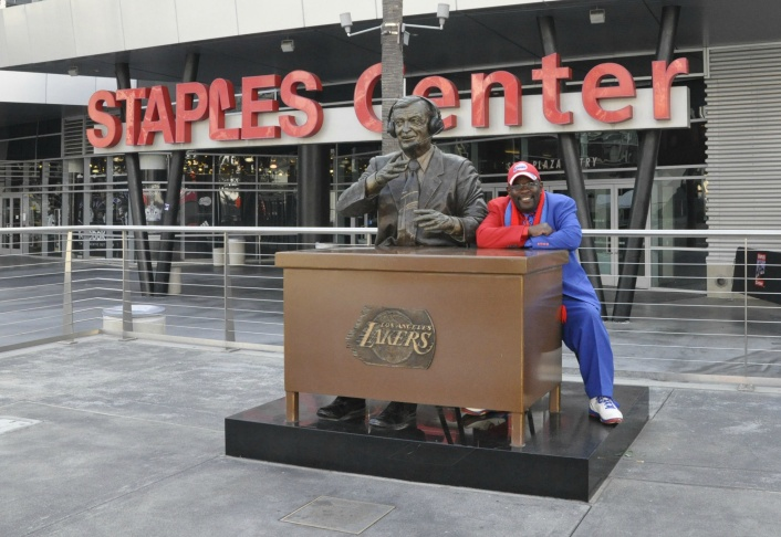 Darrell Bailey, AKA Clipper Darrell, outside Staples Center in June of 2014