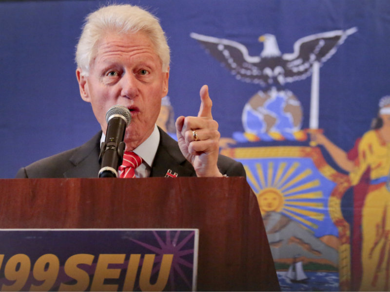 Former President Bill Clinton speaks to healthcare union members, while campaigning for his wife, Democratic presidential candidate Hillary Clinton, Thursday March 31, 2016, in New York.