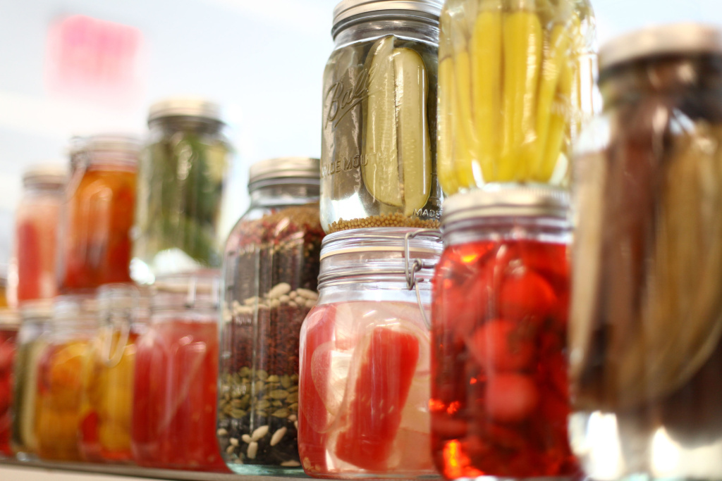 A view of homemade pickling jars.