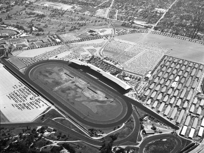 Aerial view of Santa Anita Park and Racetrack, located at 285 W. Huntington Drive in the city of Arcadia; view is looking southeast.