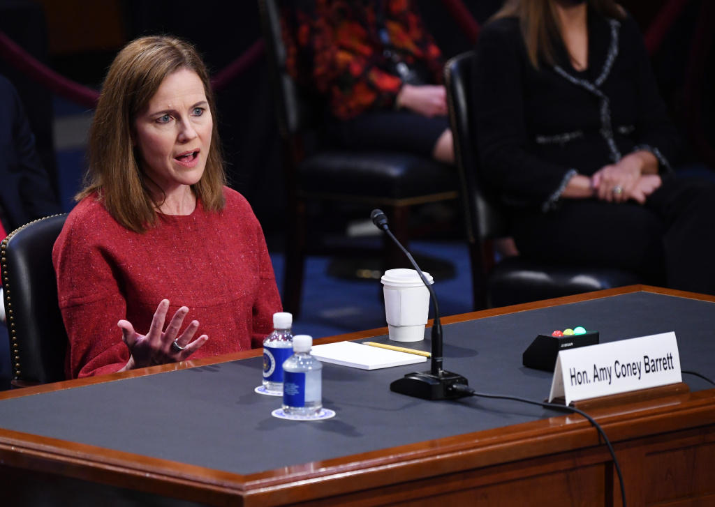 Supreme Court nominee Judge Amy Coney Barrett speaks during her confirmation hearing before the Senate Judiciary Committee on Capitol Hill.