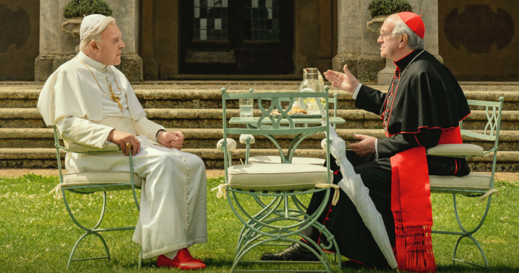 Anthony Hopkins, left, plays Pope Benedict and Jonathan Pryce is Pope Francis in