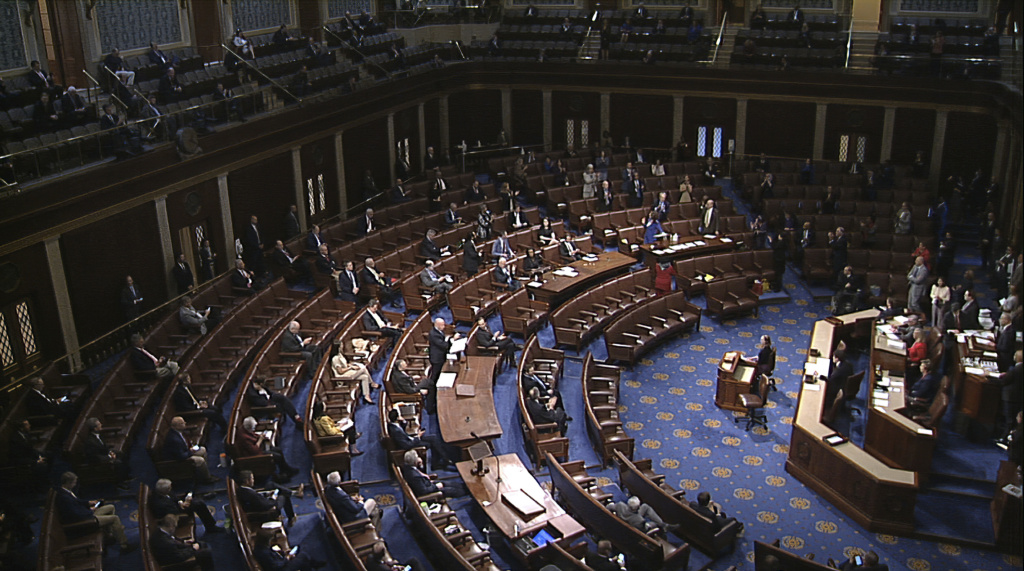 Lawmakers are directed to practice social distancing for debates and votes on the floor of the House of Representatives.
