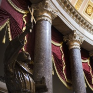 A statue of Father Junipero Serra, the founder of Californias missions and a controversial figure for his role in a process that began the decimation of the Native American population, stands in Statuary Hall in the US Capitol in Washington, DC, January 30, 2015. Pope Francis announced January 29, 2015, his plans to canonize Serra in September 2015 when hes scheduled to visit the East Coast.       AFP PHOTO/JIM WATSON        (Photo credit should read JIM WATSON/AFP/Getty Images)