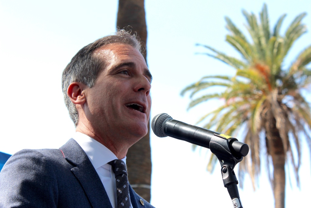 Los Angeles Mayor Eric Garcetti speaks during the launch event for an anti-homelessness campaign on Fri., Mar. 9, 2018.