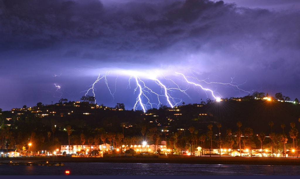 A time exposure photo of the lightning storm provided by the Santa Barbara County Fire Department  (Mike Eliason/Santa Barbara County Fire Department via AP)
