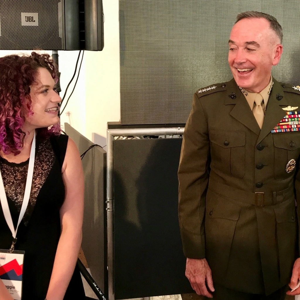 Maggie Feldman-Piltch, left, founder of #NatSecGirlSquad, and Marine Gen. Joseph Dunford, chairman of the Joint Chiefs of Staff, in 2017 at the Aspen Security Forum, in Aspen, Colo.