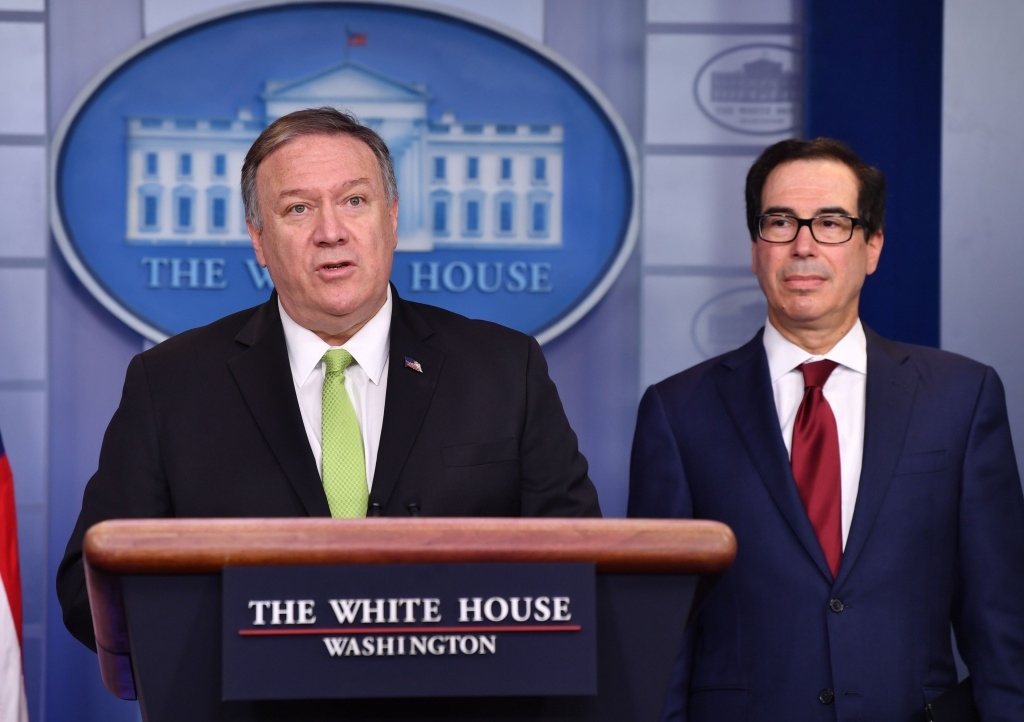 US Secretary of State Mike Pompeo and Treasury Secretary Steven Mnuchin announce new sanctions on Iran, at the White House in Washington, DC, on January 10, 2020.