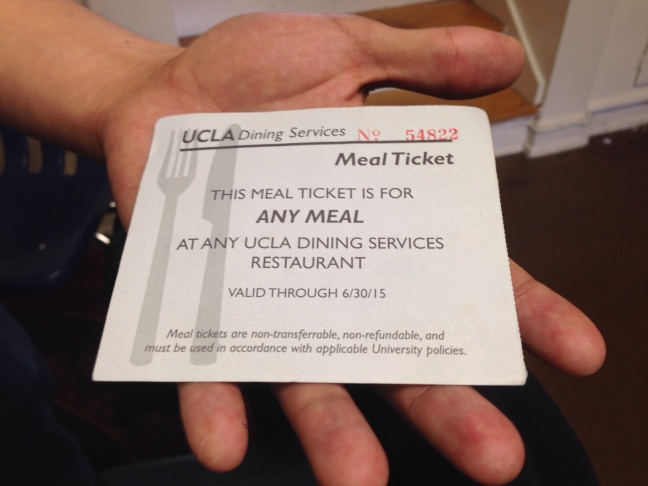 Last academic year, UCLA gave out 3,800 meal vouchers like this one to needy students.