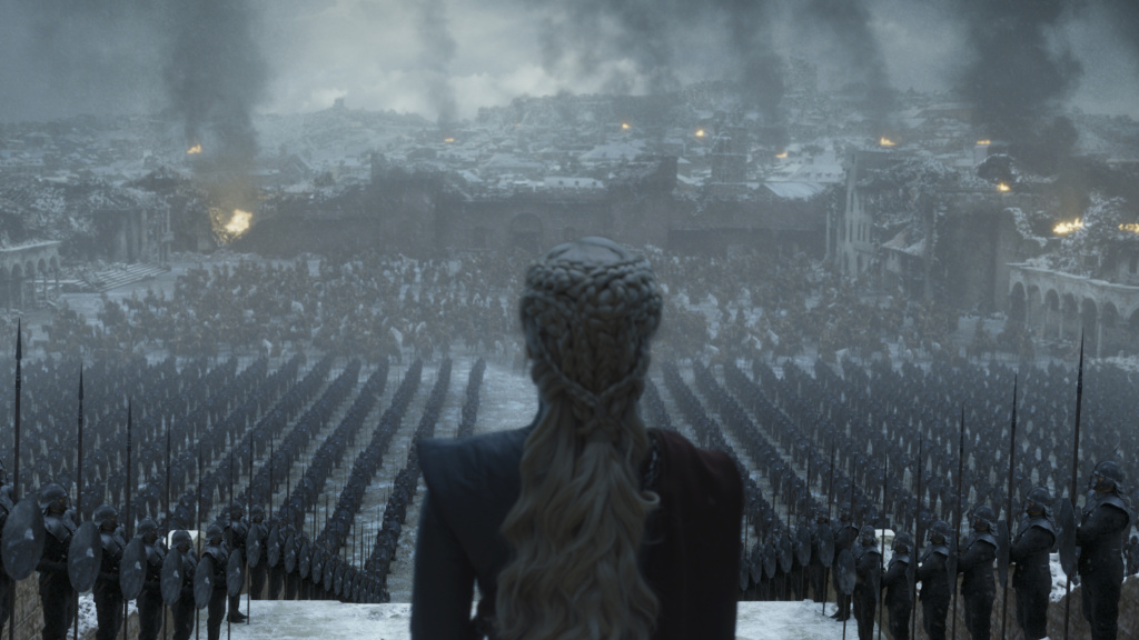 Having well and truly landed, Queen Daenerys (Emilia Clarke) surveys the ruins of King's Landing on the final episode of