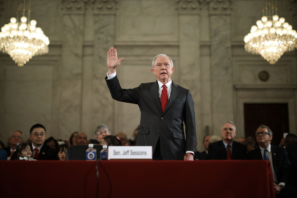 Sen. Jeff Sessions (R-AL) is sworn in before the Senate Judiciary Committee during his confirmation hearing to be the U.S. attorney general January 10, 2017 in Washington, D.C. Sessions was one of the first members of Congress to endorse and support President-elect Donald Trump, who nominated him for attorney general.