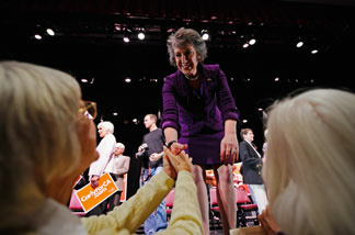Republican candidate for U.S. Senate and former head of Hewlett-Packard Carly Fiorina greets supporters after her speech to residents of Laguna Woods Village retirement community on October 28, 2010 in Laguna Woods, California.