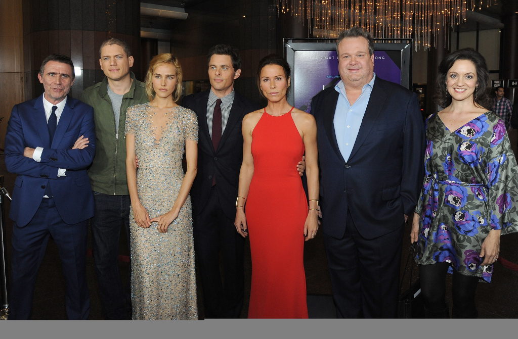 (L-R) Director Erik Van Looy poses with actors Wentworth Miller, Isabel Lucas, James Marsden, Rhona Mitra, Eric Stonestreet and Kali Rocha at the screening of Open Road Films'