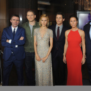 "(L-R) Director Erik Van Looy poses with actors Wentworth Miller, Isabel Lucas, James Marsden, Rhona Mitra, Eric Stonestreet and Kali Rocha at the screening of Open Road Films' ""The Loft""  at Directors Guild Of America on January 27, 2015 in Los Angeles, California."