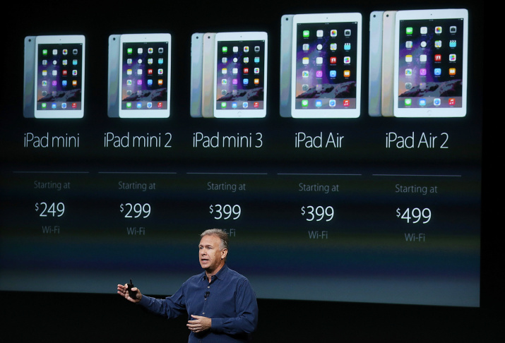 Apple Senior Vice President of Worldwide Marketing Phil Schiller announces the new iPad Air 2 during a special event on Oct. 16, 2014 in Cupertino, California.  Apple unveiled the new iPad Air 2 tablet, iPad Mini 3 and a Retina iMac.