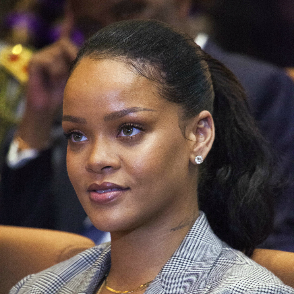 Rihanna, photographed in February, denounced an ad on Snapchat that made light of domestic violence. The company's stock closed down by week's end.