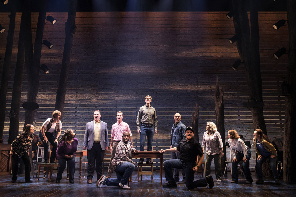 """The company of the First North American tour of """"Come From Away,"""" with a book, music and lyrics by Tony and Grammy Award nominees Irene Sankoff and David Hein, and direction by Christopher Ashley."""
