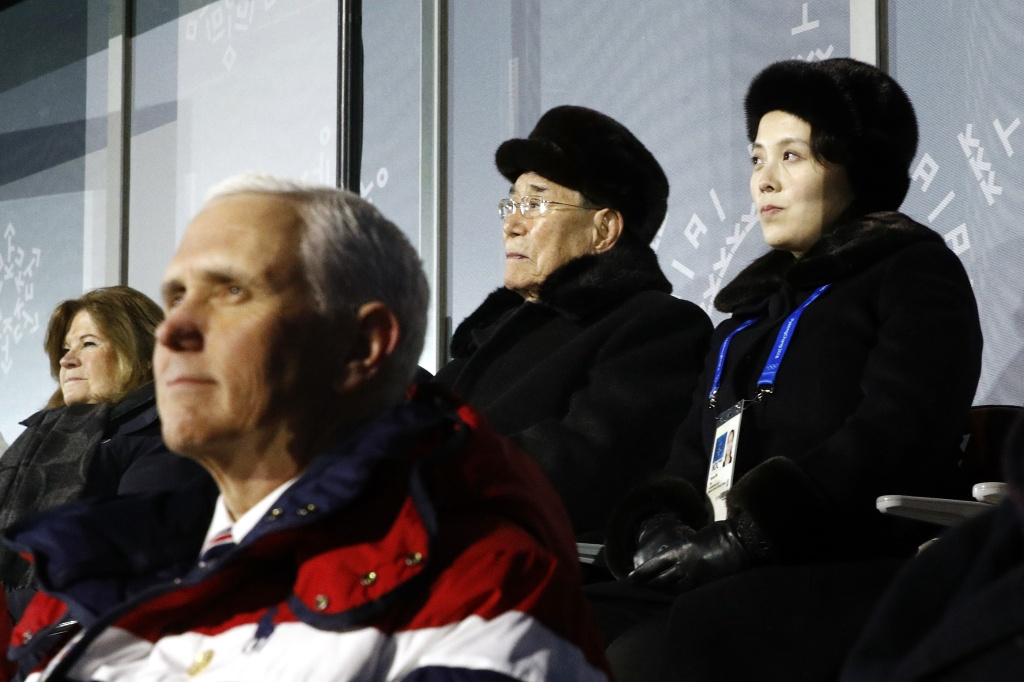 Kim Yo Jong, top right, sister of North Korean leader Kim Jong Un, sits alongside Kim Yong Nam, president of the Presidium of North Korean Parliament, and behind U.S. Vice President Mike Pence during the Opening Ceremony of the Pyeongchang 2018 Winter Olympics on February 9, 2018.