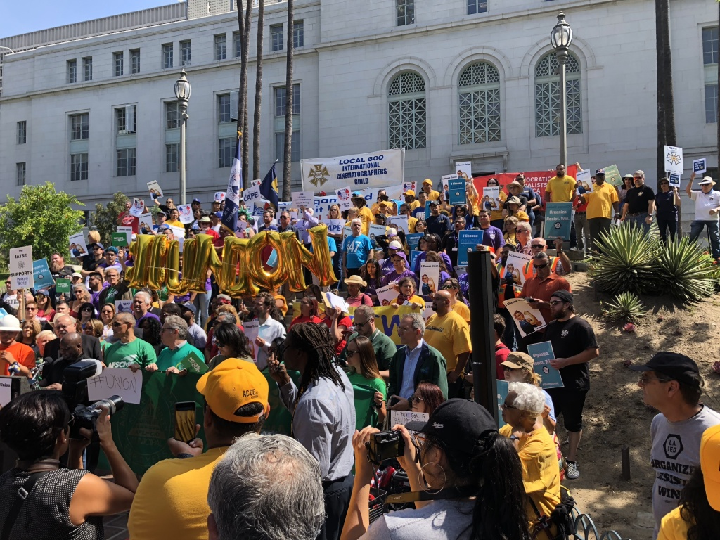 Protesters gather at Los Angeles City Hall on 28th June 2018, to oppose the recent Supreme Court decision on union fees