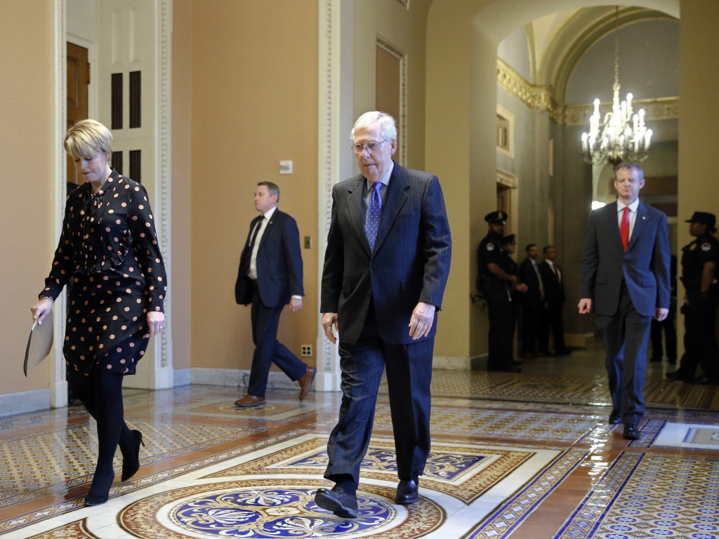 Senate Majority Leader Mitch McConnell of Kentucky walks to the Senate chamber on Capitol Hill in Washington, D.C., on Tuesday.
