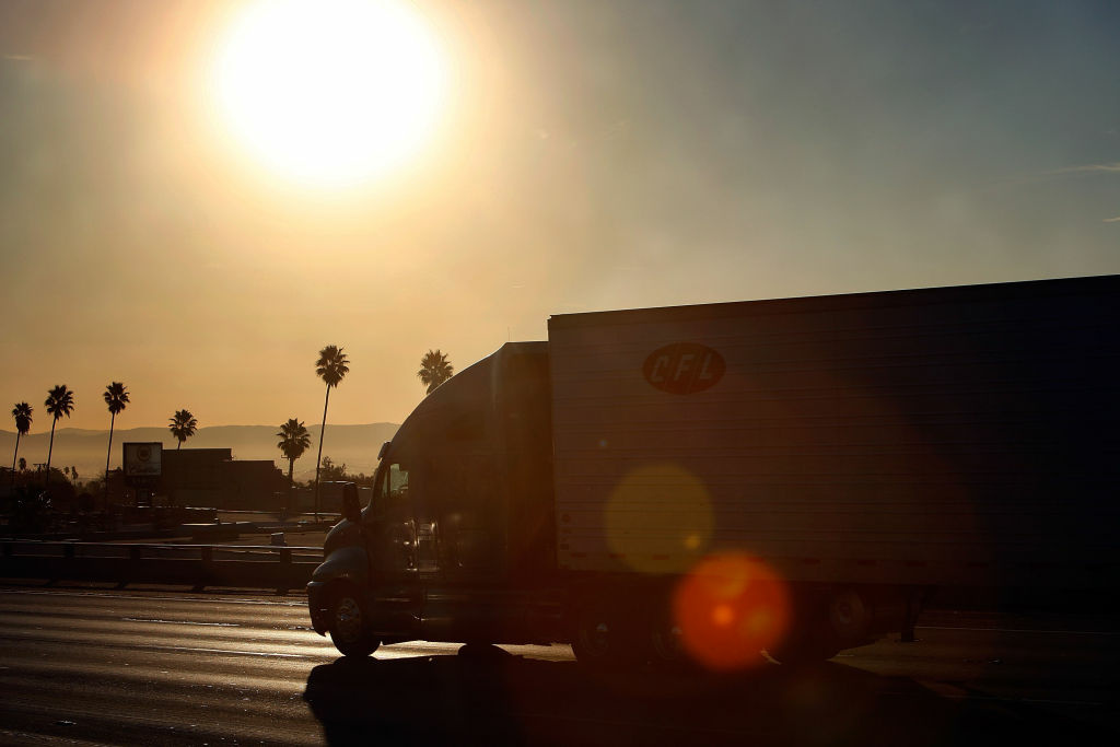A file photo of a truck traveling the 210 freeway near Pasadena in 2010.