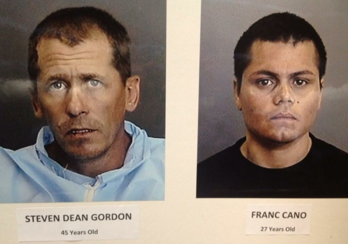 This combination of undated photos from the Megan's Law website shows suspects, Stephen Dean Gordon, 45, left, and Franc Cano, 27, who were arrested on Friday, April 11, 2014, on suspicion of killing four women in Orange County, Calif. Anaheim police said detectives in Santa Ana and Anaheim launched a joint investigation after the naked body of Jarrae Nykkole Estepp, 21, was found in the conveyor belt of a recycling plant last month. The probe led detectives to connect the men to her slaying, and the disappearance of three women who frequented a Santa Ana neighborhood known for drug dealing and prostitution.