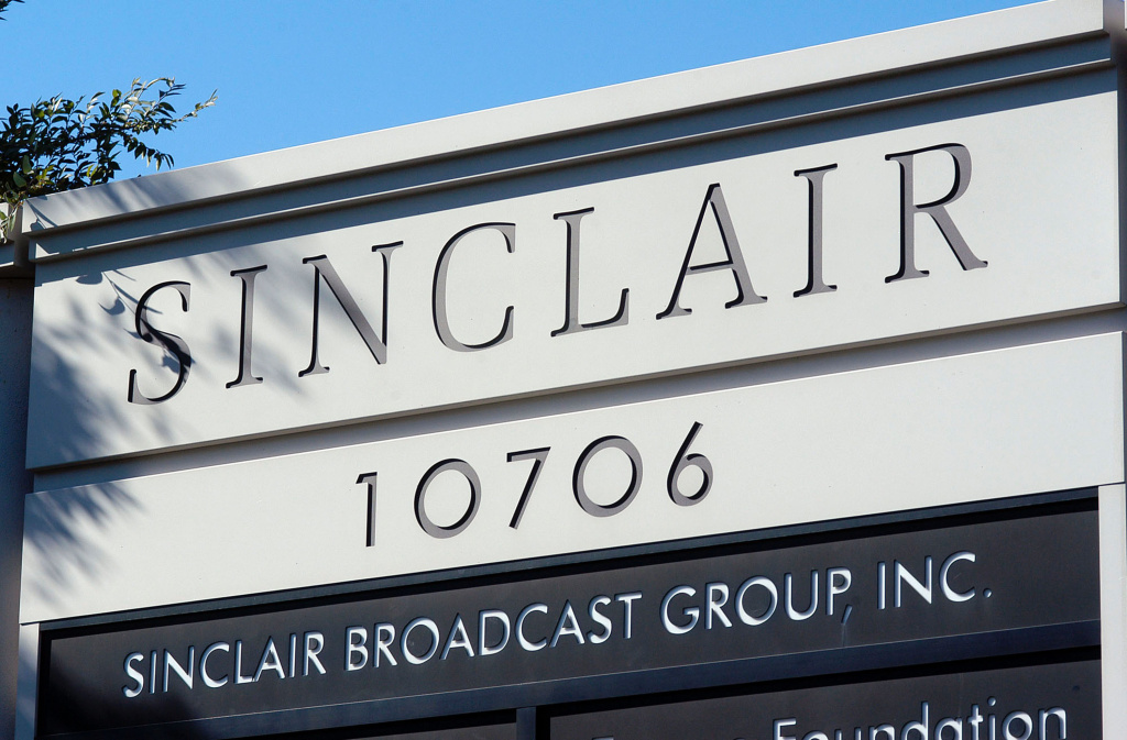A sign for the Sinclair Broadcast building is seen in a buisness district October 12, 2004 in Hunt Valley, Maryland.