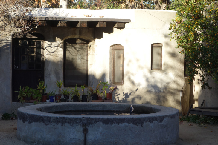 Lummis Home -- fountain and guest house