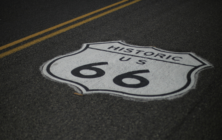 A road marking of the historic Route 66