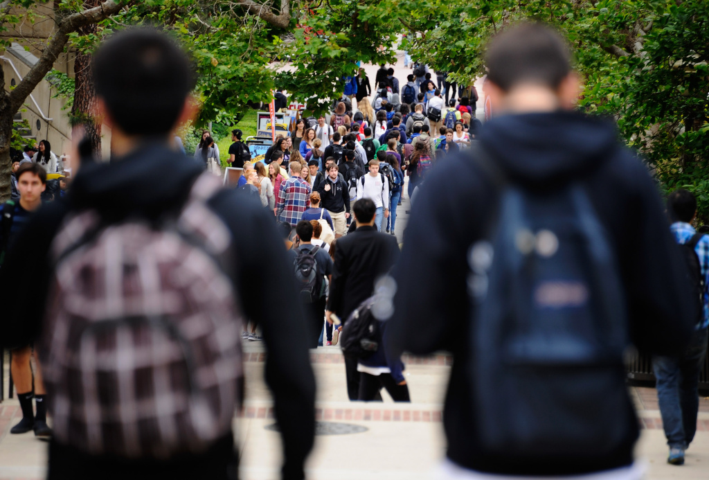 Students walk across the campus of UCLA. Among the freshman classes at the UC system's nine undergraduate campuses, UCLA has the highest percentage of students from out of state, with 30.1 percent.