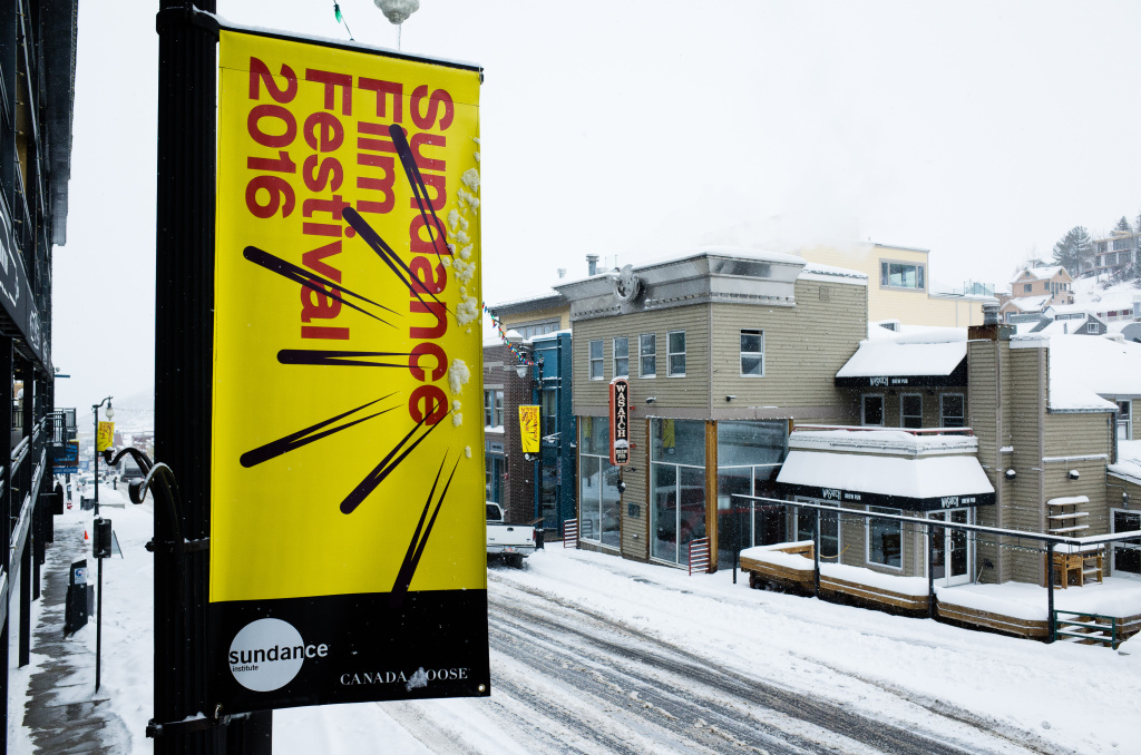Signage is seen on Main Street before the 2016 Sundance Film Festival on Jan. 20, 2016 in Park City, Utah.