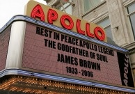The Apollo Theater marquee during the James Brown viewing on December 28, 2006 in New York City.