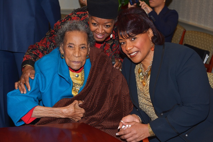 Amelia Boynton Robinson (left) and Bernice King attend the reception honoring the 50th anniversary of the